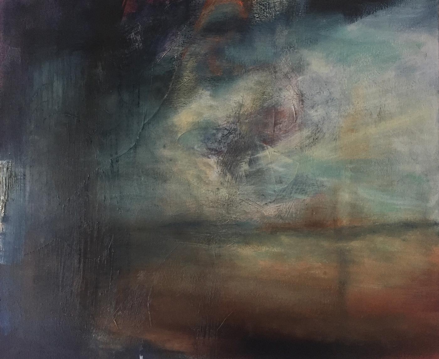 Ölbild, Wolkenbruch, Meer